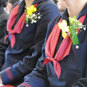 フリージアコサージュを胸に卒業式